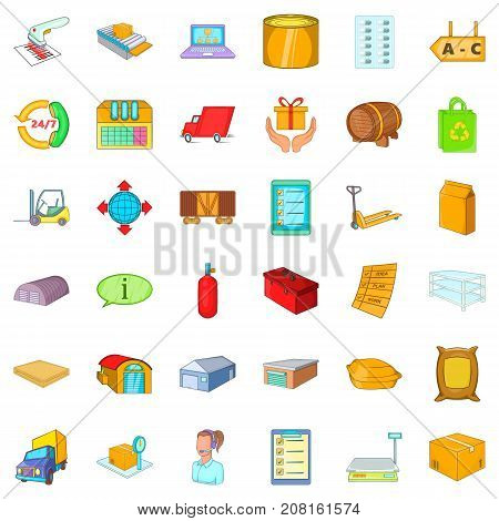 Delivery icons set. Cartoon style of 36 delivery vector icons for web isolated on white background