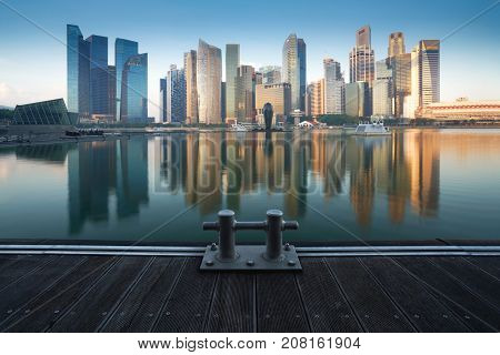Singapore skyline at night in Singapore city, Cityscape Singapore Panoramic Concept