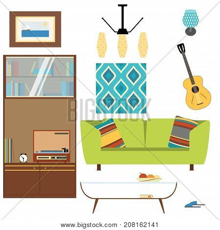 Living room interior objects collection with sofa table sleepers cupboard brace guitar picture and chandelier in the style of 70's.
