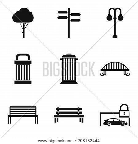 City bench icons set. Simple set of 9 city bench vector icons for web isolated on white background