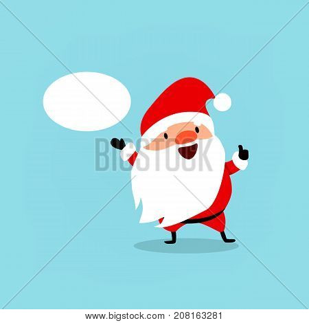 Santa Claus with bubble for text. Cute Christmas symbol. Element from collection of Santa Clauses with different emotions and New Year's objects. Vector illustration isolated on light blue background