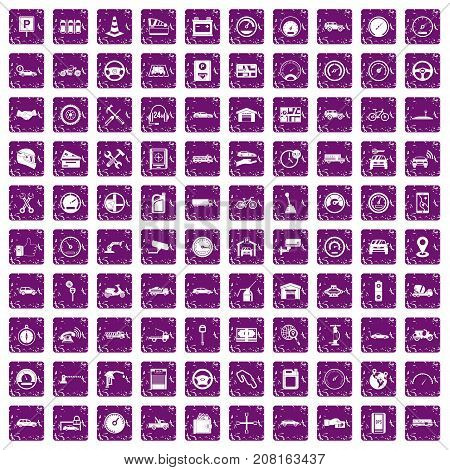 100 garage icons set in grunge style purple color isolated on white background vector illustration