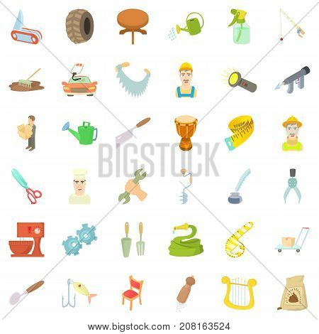Worker icons set. Cartoon style of 36 worker vector icons for web isolated on white background