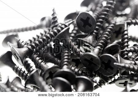 Screws for construction on a white background .