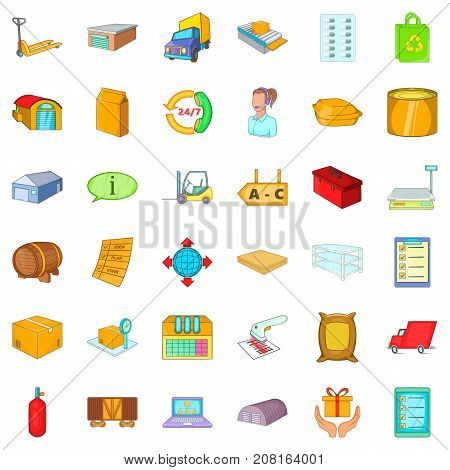 Storehouse icons set. Cartoon style of 36 storehouse vector icons for web isolated on white background