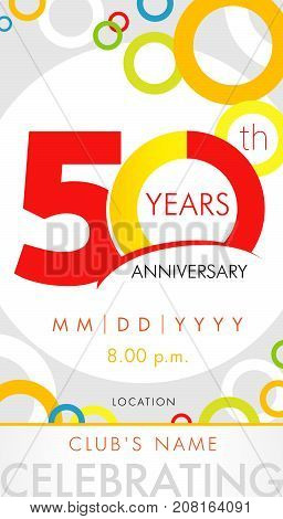 50 years anniversary invitation card, celebration template concept. 50th years anniversary modern design elements with background colored circles. Vector illustration