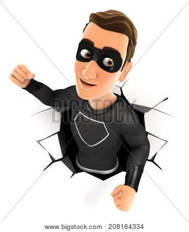 3d black hero coming out through a wall illustration with isolated white background