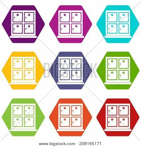 Cells for storage in the supermarket icon set many color hexahedron isolated on white vector illustration