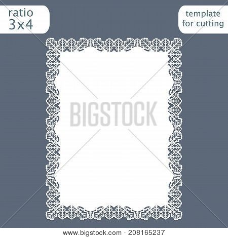Laser cut wedding invitation card template with openwork border. Cut out the paper card with pattern of oak leaves. Greeting card template for cutting plotter. Vector.