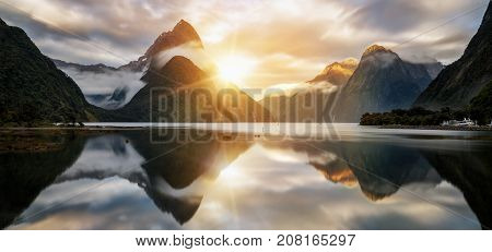 Beautiful Sunrise In Milford Sound, New Zealand