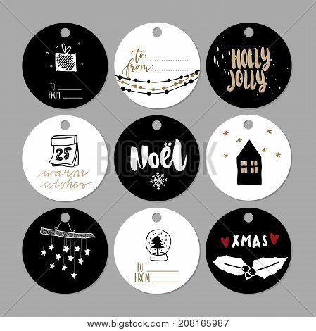 Set of doodle Christmas gift tags. Vector hand drawn cute icons. Scandinavian style printables. Xmas lettering, noel, house, holly jolly, present. New Year scrapbooking. Holiday festive party.