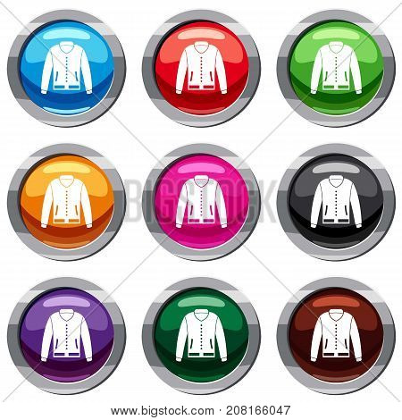 Jacket set icon isolated on white. 9 icon collection vector illustration