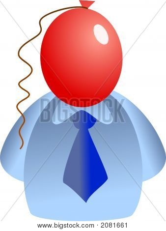 man with a red balloon for a face - icon people series poster