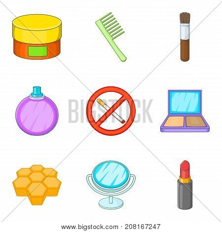 Prohibition of bad habit icons set. Cartoon set of 9 prohibition of bad habit vector icons for web isolated on white background