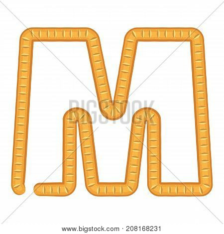 Letter m bread icon. Cartoon illustration of letter m bread vector icon for web