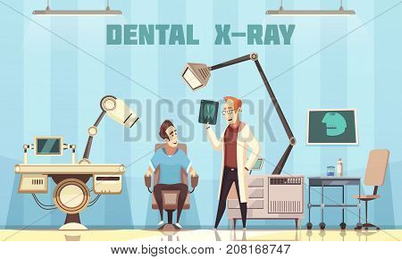 Dentist office interior with professional equipment patient in chair and doctor holding roentgen picture cartoon vector Illustration