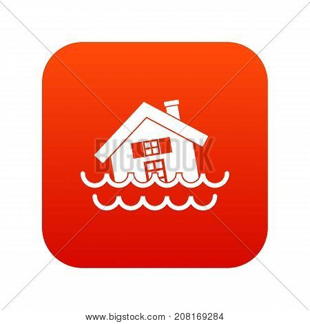 House sinking in a water icon digital red for any design isolated on white vector illustration