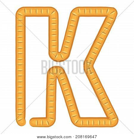 Letter k bread icon. Cartoon illustration of letter k bread vector icon for web