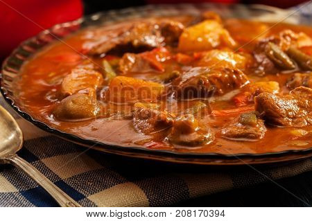 Stew Soup With Meat And Potatoes