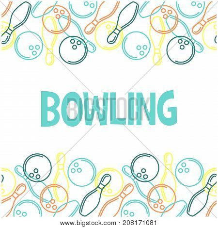 Seamless bowling pattern with outline of skittles and bowling balls