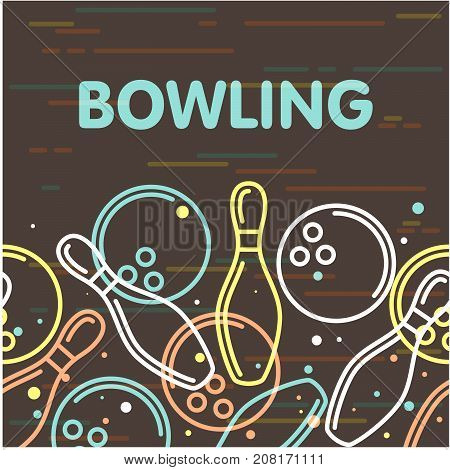 Bowling poster with outline of skittles and bowling balls