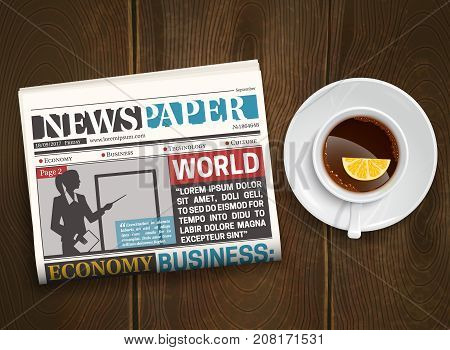 Morning world news realistic poster with black coffee with lemon and newspaper on wood background vector illustration