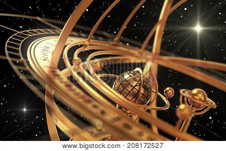 Armillary Sphere And Stars On Black Background. 3D Illustration.