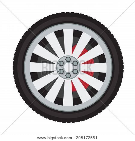Car wheel mock up in detail with solid and flat color design. Illustrated vector.