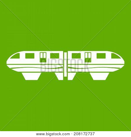 Monorail train icon white isolated on green background. Vector illustration