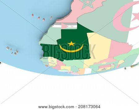 Map Of Mauritania With Flag On Globe