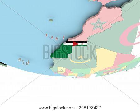 Map Of Western Sahara With Flag On Globe