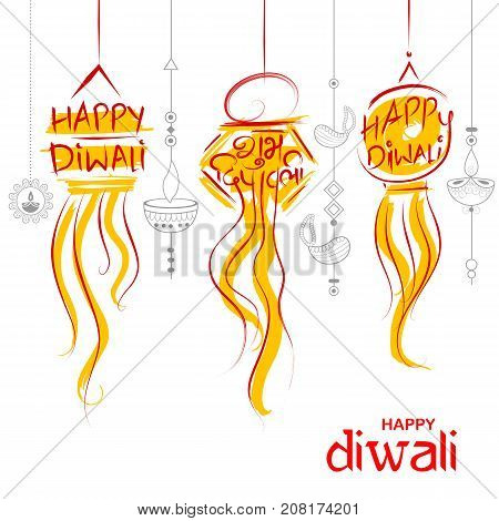 illustration of hanging Kandil Diwali Holiday background for light festival of India with message in Hindi meaning Happy Dipawali
