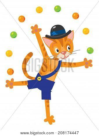Children vector illustration of funny little cat or kitten juggles balls