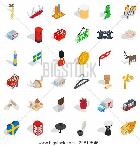 Sweden icons set. Isometric style of 36 active style vector icons for web isolated on white background