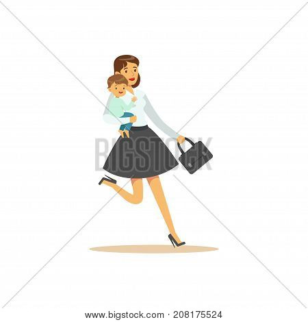 Flat super mom character, running late to work or to kindergarten. Happy mother with her baby in her arms. Parenthood and motherhood. Caring woman with child. Vector illustration isolated on white