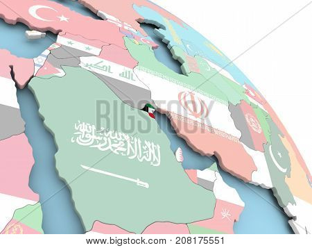 Flag Of Kuwait On Globe