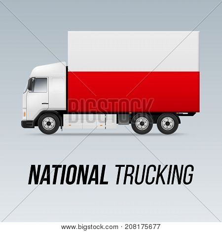 Symbol of National Delivery Truck with Flag of Poland. National Trucking Icon and Polish flag