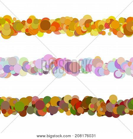 Random dot pattern line separator decoration set from colored circles - vector design elements to divide page parts