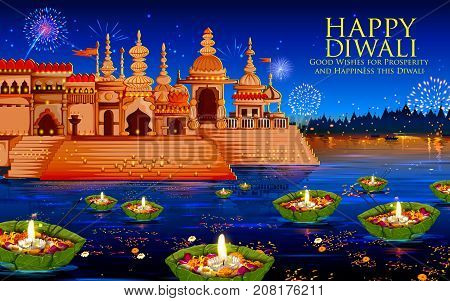 illustration of floating diya in river on Happy Diwali Holiday background for light festival of India
