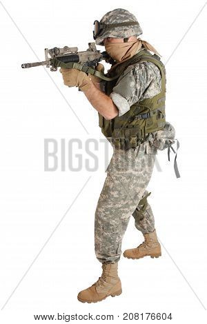Us Army Soldier With Assault Rifle On White Background