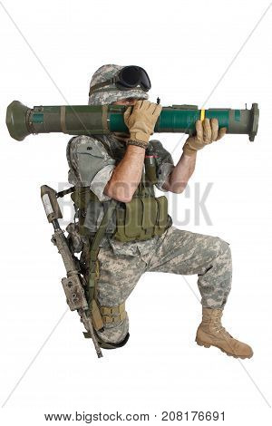 US ARMY soldier with AT4 rocket launcher isolated on white