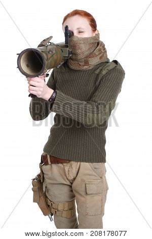 girl mercenary with RPG rocket launcher isolated on white poster