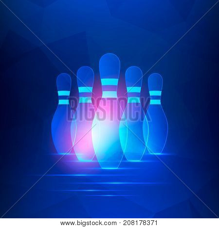 Bowling club banner with bowling pins. Vector background