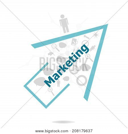 Text Marketing. Business Concept . Data Protection And Secure Elements Inforgaphic Set
