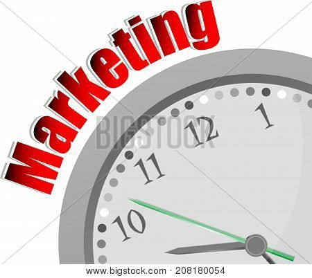Text Marketing. Business Concept . Color Word And Modern Clock On White