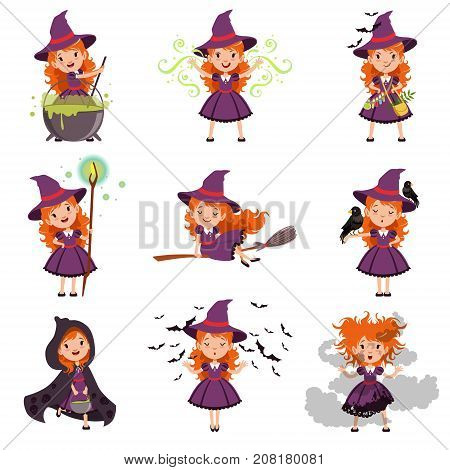 Little kid witch set wearing purple dress and hat. Girl flies on a broomstick, walks in cape, conjures, brews potion. Halloween collection with broom, bats, black raven, magic staff and pot. Vector
