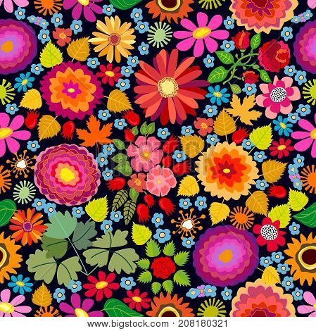 Seamless vector pattern with asters, chrysanthemums, gerbera and sunflowers on black background. Folk art style textile collection.