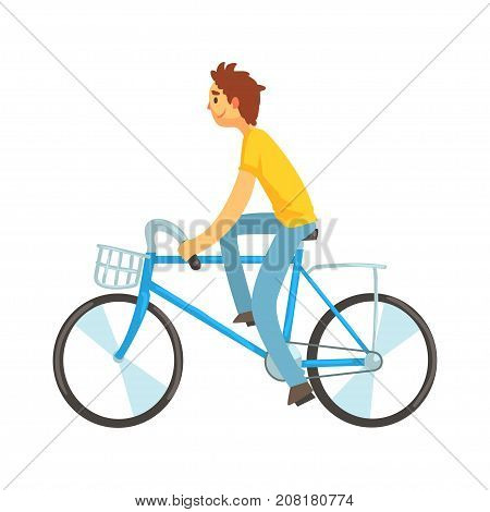 Adult young man riding city bicycle with front basket. Outdoor activities. Ecological mode of transport. Cartoon design character. Flat style vector illustration isolated on white background.