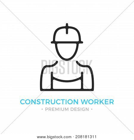 Construction worker icon. Human silhouette with overall and hard hat, contractor, builder concepts. Stroke, outline, linear, line style. Vector thin line icon isolated on white background