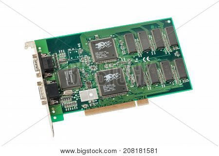MOSCOW, RUSSIA - OCTOBER, 2017: 3DFX Voodoo video 3D Accelerator card isolated on white. The hardware accelerated only 3D rendering, relying on the PC's current video card for 2D support.